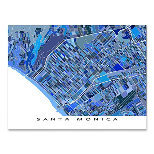 Santa Monica Map Print, California, USA, City Street Art, - Monica 3rd Santa