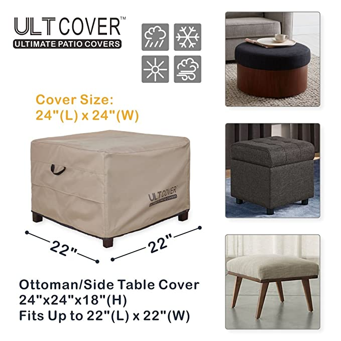 Amazon.com: ULT Cover Waterproof Patio Ottoman Cover Square Outdoor Side  Table Furniture Covers Size 22L X 22W X 18H Inch: Garden U0026 Outdoor