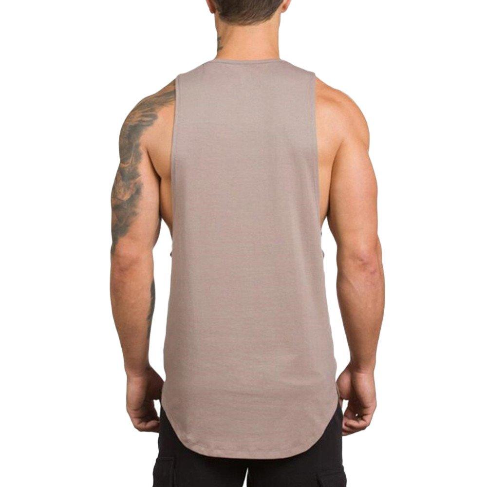 MODOQO Men's Tank Tops Fitness Sleeveless Cotton O-Neck T-Shirt Gym Vest(Beige,M) by MODOQO (Image #3)