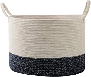 """Hlryudo Rope Baskets 19.7"""" x 13.8"""" Laundry Baskets, Woven Storage Baskets, Hampers for Laundry, Blue and White Cotton Basket with Handles"""