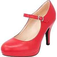 Cambridge Select Women's Mary Jane Closed Round Toe Buckled Strap Platform High Heel Pump