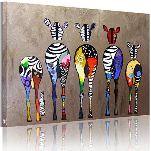 RAIN QUEEN Cute Multicolor Zebra HD Bilder Bilderrahmen Wand Bild Leinwand Kunstdruck Landschaft Holz Rahmen(50*75cm)