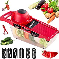 Mandoline Slicer Vegetable Cutter Grater Chopper Julienne Slicer - 6 Interchangeable Blades with Peeler,Hand Protector,Food Storage Container - Cutter for Potato,Tomato,Onion,Cheese,Cucumber et