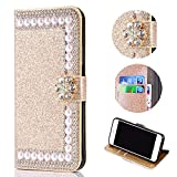 Bling Glitter Case for Samsung Galaxy J3 2018,Shinyzone Luxury Diamond [3D Flower Magnetic Buckle] [Stand Feature] Leather Wallet Protective Cover for Samsung Galaxy J3 2018,Golden