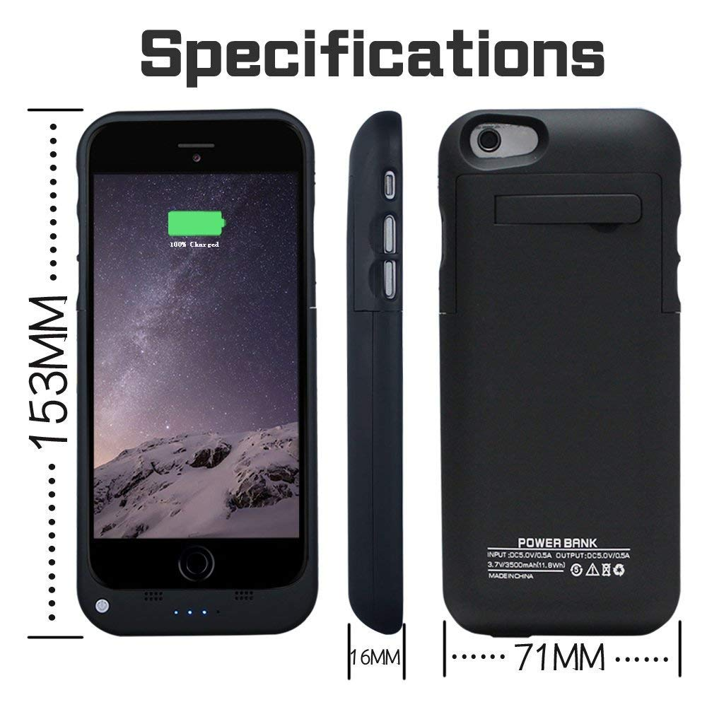 Yhhao 3500mah Charger Case For Iphone 6 6s Slim Cell Phone Shield With Extended Battery Portable Back Up Power Bank Rechargeable