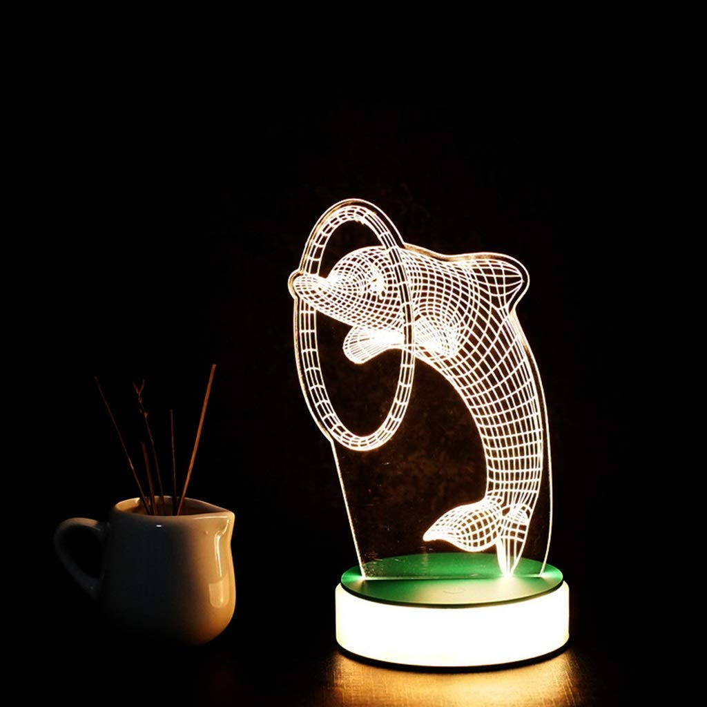 3D night light 3D Printing Acrylic Colorful Engraving Process Natural Light Do Not Hurt The Eye ZHJING (Color : Dolphin) by 3D night light