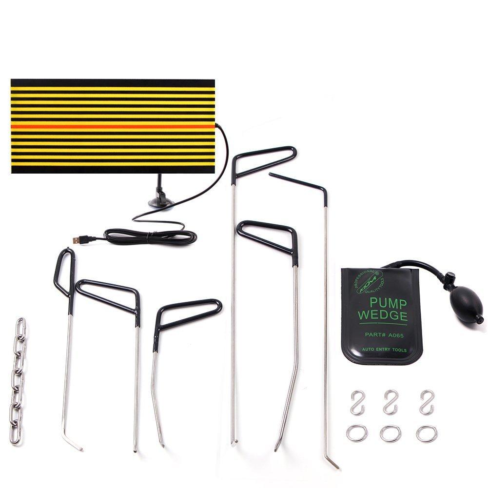 Mookis PDR Tools Rod Body Repair, Body Kit 11pcs Sin Color, Reparació n de abolladuras y reparació n de granizo, Air Wedge, LED Reflector Board Reparación de abolladuras y reparación de granizo