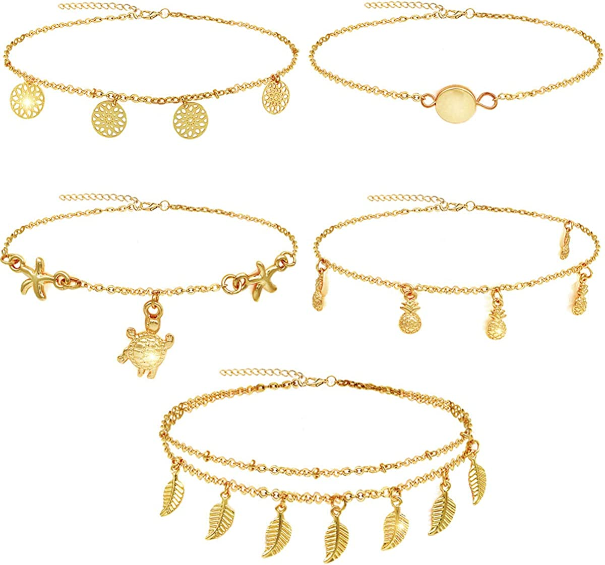 Suyi 5Pcs Chain Ankle...