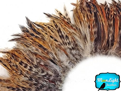 Rooster Feathers, 4 Inch Strip Red Chinchilla Strung Rooster Neck Hackle Feathers