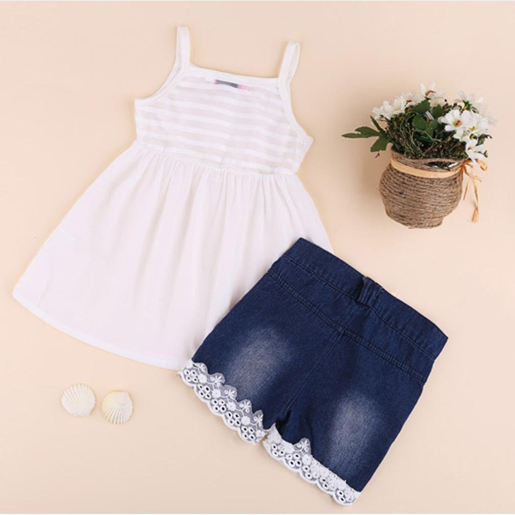 Kids Baby Girls Outfits Set Tank Top T-Shirt Dress and Jeans Pants Two Pieces Clothes Set Clode for 2-7 Years Old