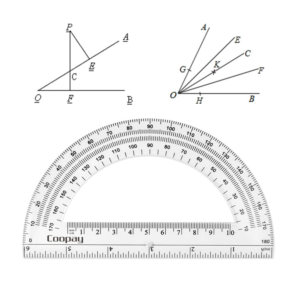 Coopay 24 Pack Plastic Protractors Clear Protractor Student Math Protractor Set 180 Degrees for Angle Measurement, 6 Inches by Coopay (Image #2)