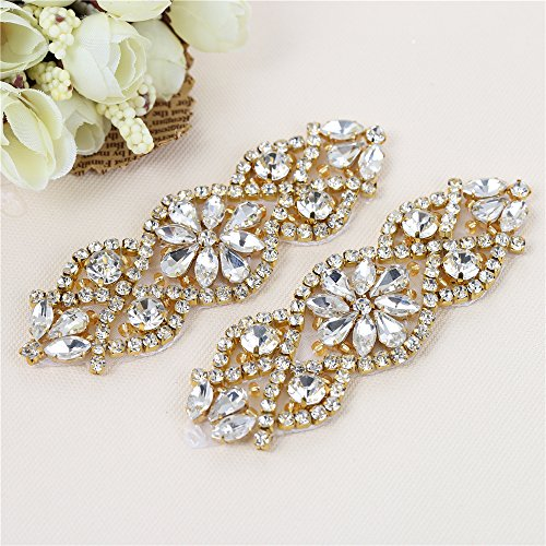 Gold Diamond Belt Buckle - XINFANGXIU (2PCS) Wedding Sash Belt Applique, Crystal Rhinestone Applique Beaded Dacorations Handcrafted Sparkle Sewn or Hot Fix for Bridal Dresses Women Gown Evening Prom Clothes - Gold