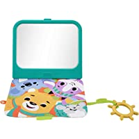 Fisher-Price Crinkle Crew Activity Mirror, Take-Along Infant Toy with Large Mirror for Tummy Time Play, Multi