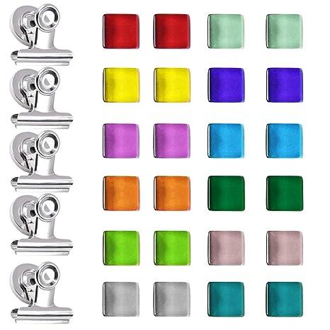 FineGood - 24 imanes magnéticos para Nevera con 5 Clips magnéticos, imanes de Cocina de Oficina y Clips de Metal para Pizarra Blanca y Pizarra de ...