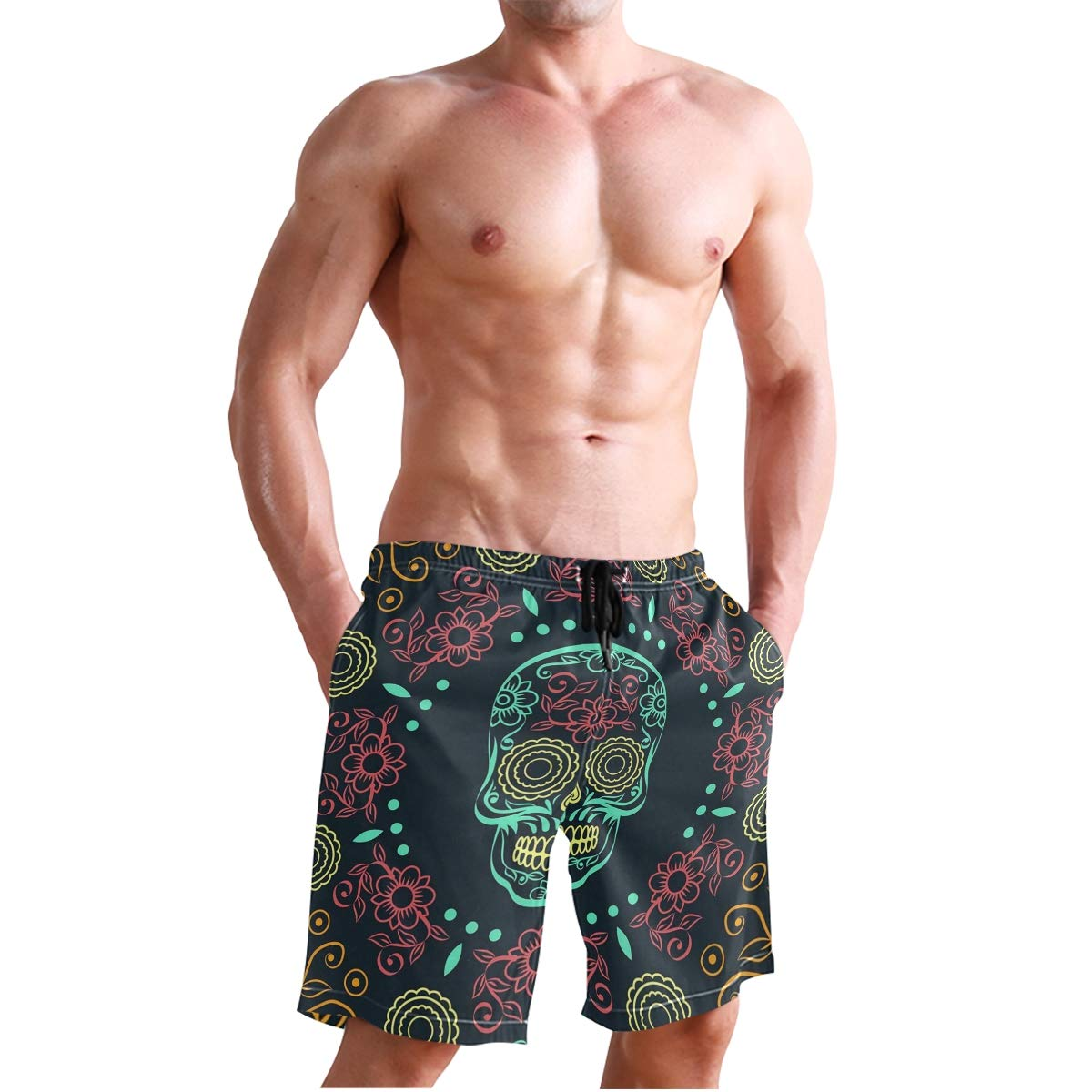 Floral Skull Head Mens Casual Quick Dry Drawstring Printed Swimsuit Beach Board Shorts