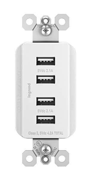 Legrand - Pass & Seymour radiant TM8USB4WCC6 Quad USB Charging Station for  Charging Smartphones & Tablets, 4 USB Charging Ports, White