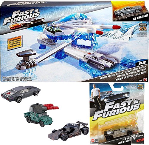 AYB Products 2017 Muscle Cars Fast & Furious + Street Scenes Frozen Missile Attack Vehicle The Fate of the Furious with Ice Charger + Fast & Furious Road Flip Car Pack Vehicle Set (Fast Attack Vehicle)
