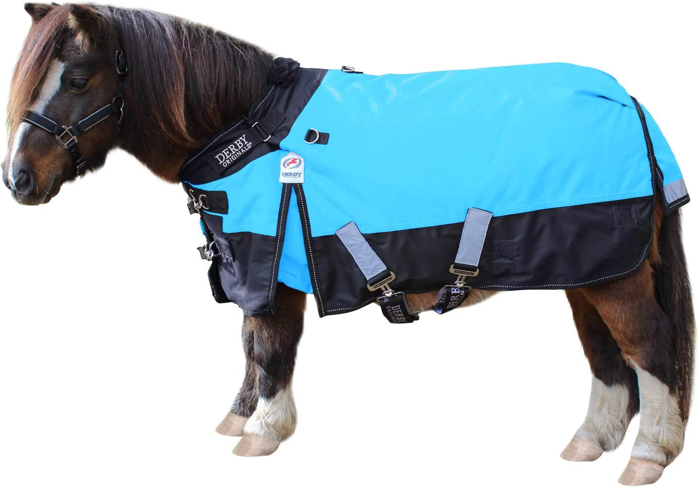 Derby Originals Classic Nordic-Tough 600D Ripstop Waterproof Winter Mediumweight Mini Horse & Pony Turnout Blankets with 200g Insulation and One Year Warranty Reflective Sky Blue