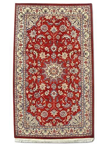Traditional Persian Handmade Kashan Rug, Wool, Burgundy/Red, 3' 1