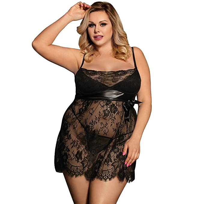 b52bc2b48 Image Unavailable. Image not available for. Color  Women Sexy Lace Lingerie  Nightwear Babydoll Chemise Sleepwear Set