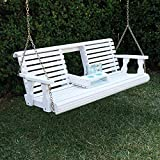 Porchgate Amish Heavy Duty 800 Lb Rollback Console Treated Porch Swing With Hanging Chains (Semi-Solid White Stain)