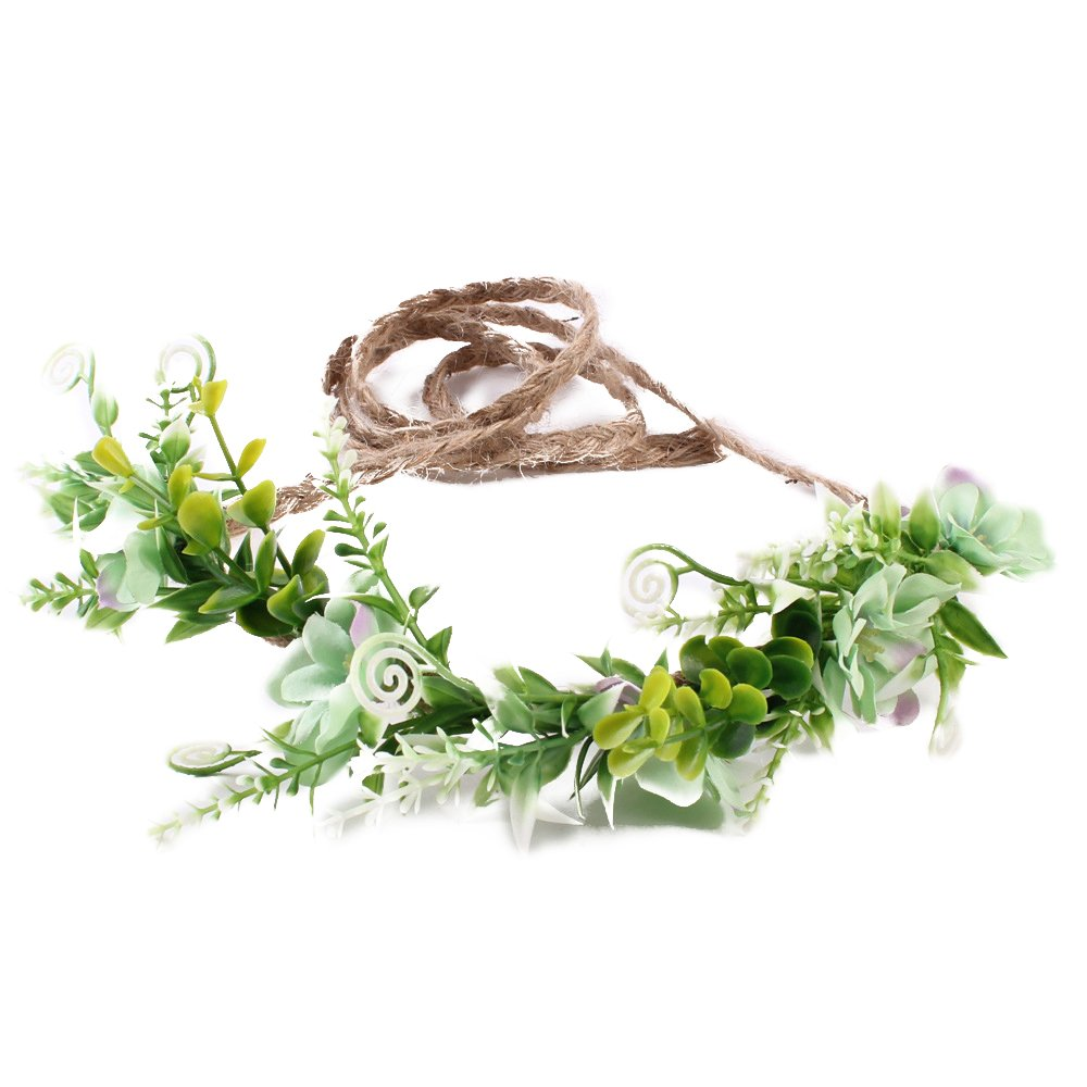 Amazon.com  Tieback Flower Crown Flower Headband Baby Girl Toddler Woodland  Green Leaf Floral Crown Wreath (Green)  Clothing 59943530e5c