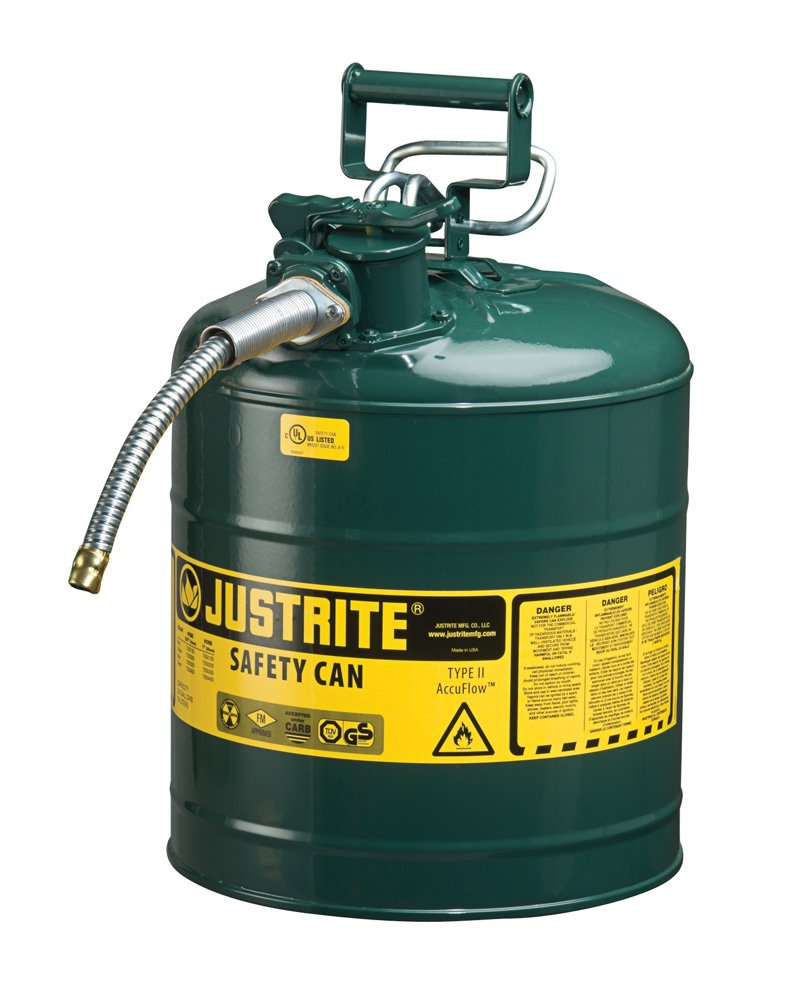 Justrite AccuFlow 7250420 Type II Galvanized Steel Safety Can with 5/8'' Flexible Spout, 5 Gallon Capacity, Green