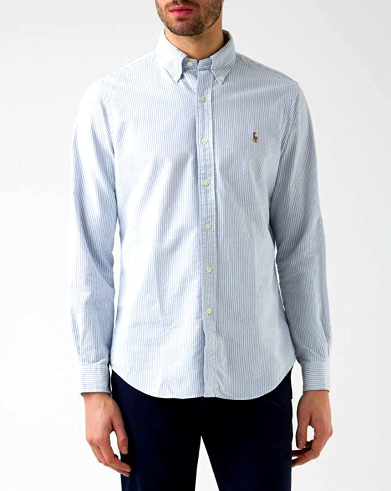 9137f15e Ralph Lauren Polo Striped Blue and White Custom Fit Oxford Dress Shirt,  Size 16.5-34/35 at Amazon Men's Clothing store: