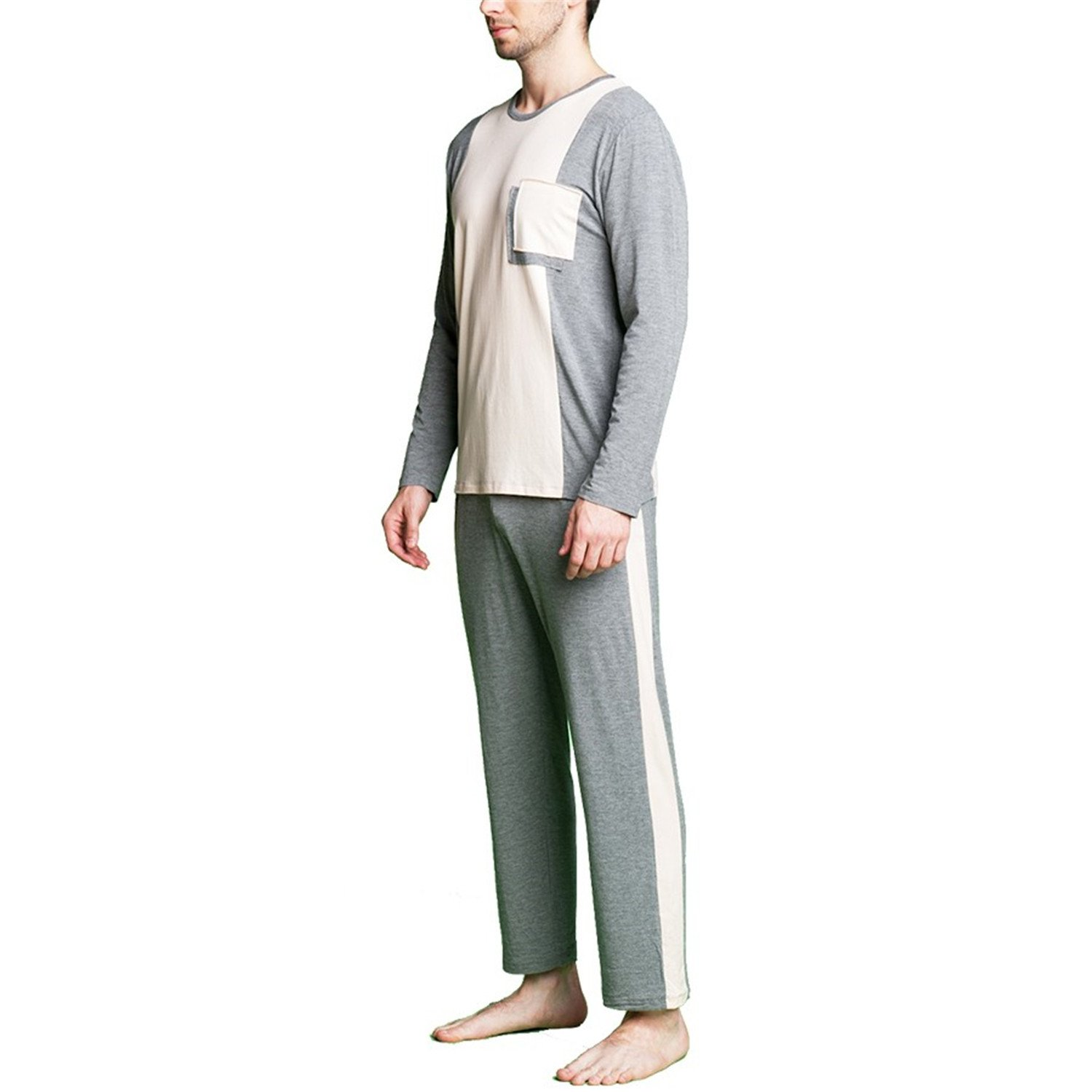 Michael Stevenson Patchwork Pajama Sets For Couple O-Neck Lounge Wear Men Long Sleeve Sleepwear at Amazon Mens Clothing store: