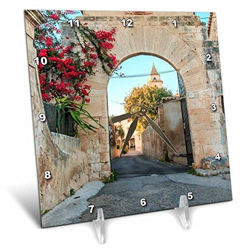 3dRose Danita Delimont - Architecture - Spain, Balearic Islands, Mallorca, church gateway. - 6x6 Desk Clock (dc_277909_1) by 3dRose
