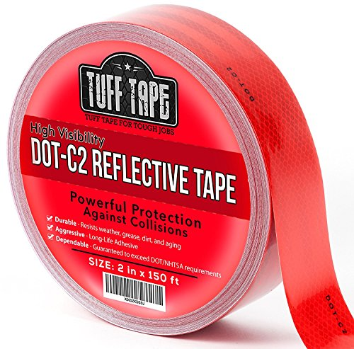 Dot Reflective Tape   Red   Dot C2 Conspiciuity Tape   Commercial Roll   2  Inch X 150 Feet   Automobile Car Truck Boat Trailer Semi   Diamond Grade