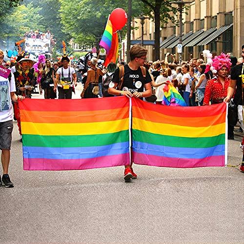 DomeStar Rainbow Flag, 3 x 5 Feet Gay Pride Flag Rainbow Gay Flag Gay Pride Banner Flags Rainbow Pride Flag with Pole