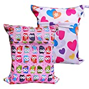 LBB 2pcs Pack Baby Cloth Diaper Bags, Wet Dry Cloth Diaper Bag Travel(Owls and Hearts)