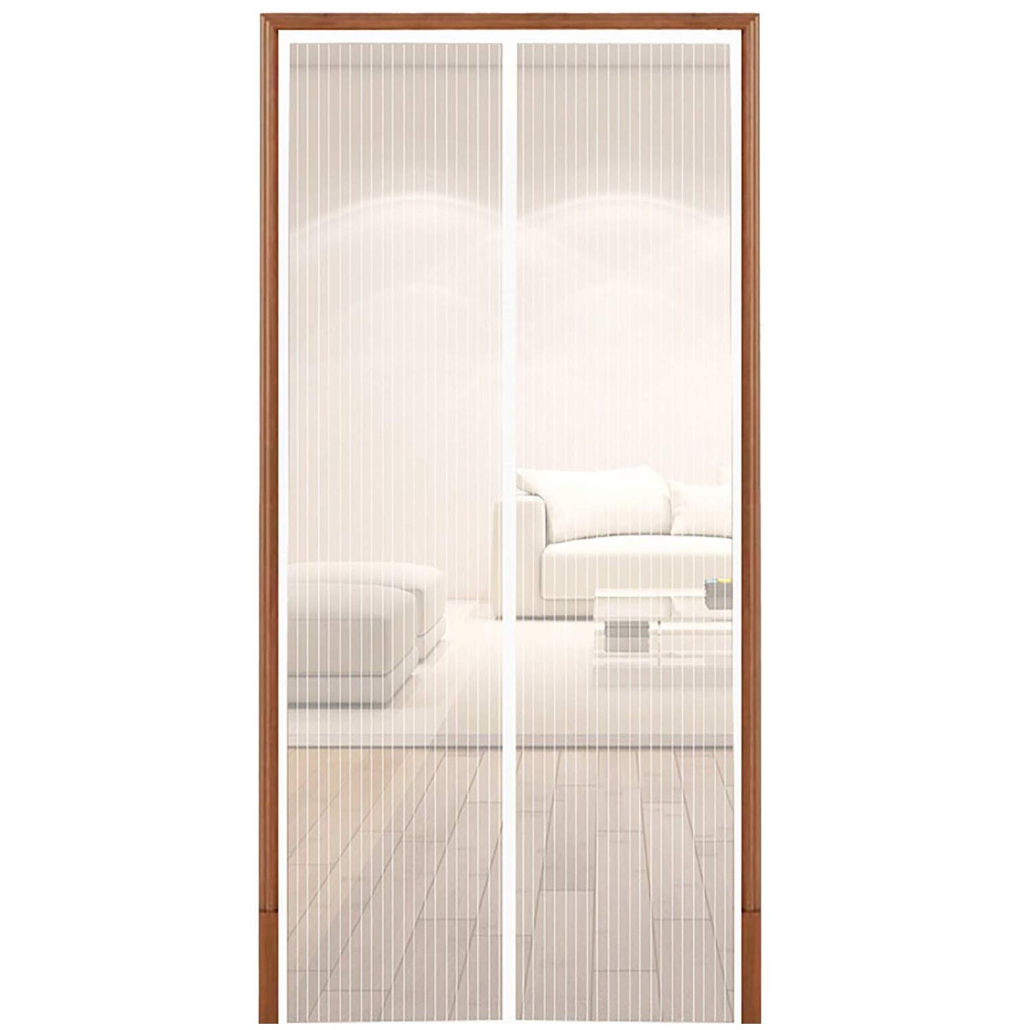 White Magnetic Screen Door Heavy Duty Mesh Screen Full Frame