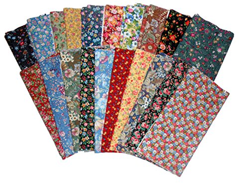 Fat Flowers - 20 Beautiful AMONG THE FLOWERS- Fat Quarters -1 OF EACH OF 20 COLORS