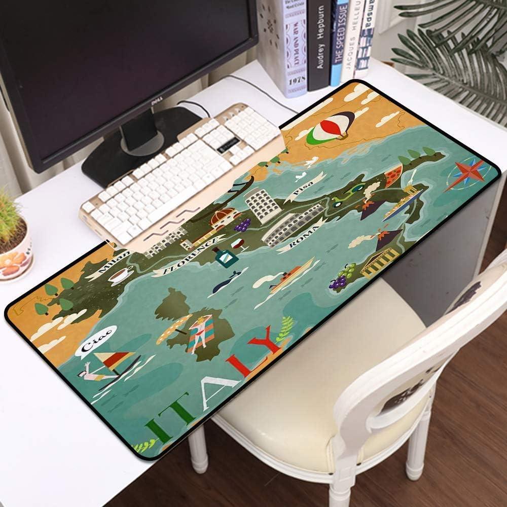Tbagem-Yjr Gaming Mouse Mat, Mat de ratón Grande Colorido Japón Turismo Diseño de Cartel con Elementos culturales Telón de Fondo, Edges cosidos Gaming Mouse Pad Mat Mat Liso cómodo (Color : Style2)