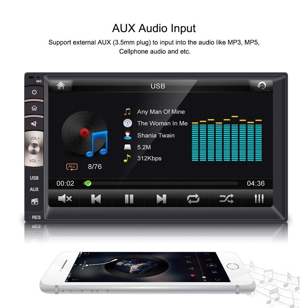 7 Zoll Universal 2 Din Bluetooth USB//TF FM Aux-Eingang Autoradio MP5 Player mit R/ückfahrkamera Autoradio Auto Media Player