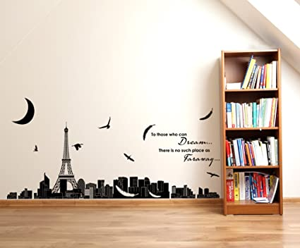 Decals Design Dream Quote with Eiffel Tower Skyline Silhouette View Wall Sticker (PVC Vinyl, 60 cm x 90 cm x 1 cm, Black)