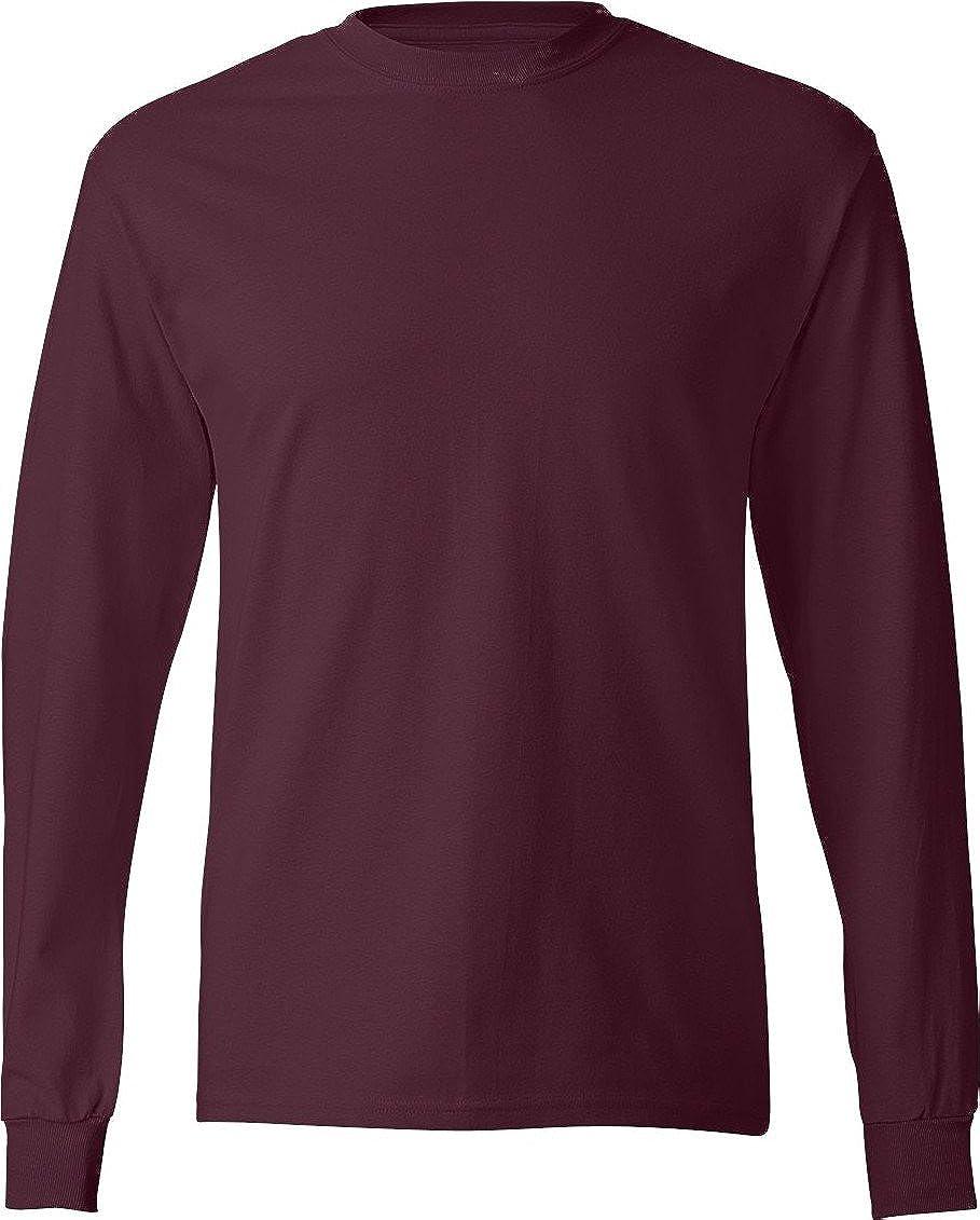 Bordeaux XL Hanes - T-Shirt à hommeches longues -  Homme