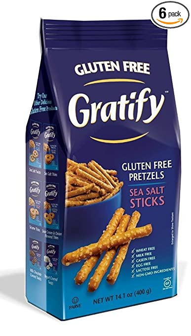 Gratify Gluten Free Pretzel Sticks, Sea Salt, 14.1 Ounce (Pack of 6)