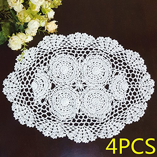 - 4PCS Oval White Cotton Hollow Out Lace Pure Handmade Crochet Floral Table Placemats Doilies Set Cup Pads Decorations 12x17 Inch