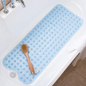 Tree Bud Bathtub Mats for Shower Tub Non-Slip Bath Mat 39 x 16 Inch Extra Long Shower Mat, Kids Bath Tub Mat for Bathroom with Machine Washable (Clear Blue)