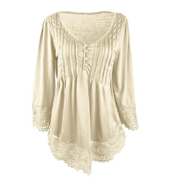 WanYang Mujer Camisas de Vestir Otoño Manga Larga Elegante Moda Round Collar Blusa T-shirt Plus Tamaño: Amazon.es: Ropa y accesorios