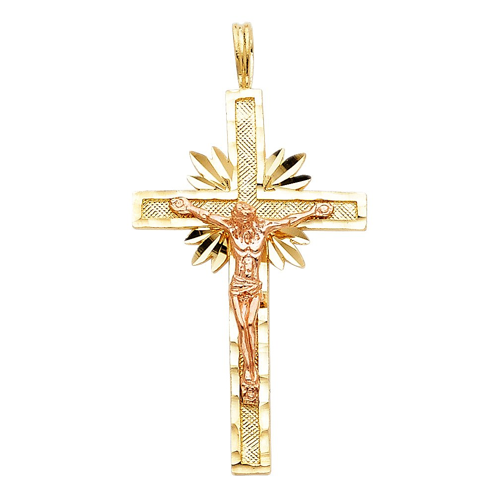 14K Two Tone Gold Crucifix Charm Pendant with 1.7mm Flat Open Wheat Chain Necklace