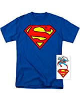 Superman Classic Logo T Shirt and Exclusive Stickers