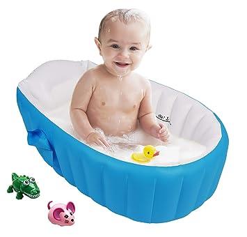 Bañera para Bebe Inflable Plegable de Viaje Ducha Para Niños Recién Nacidos (Azul)