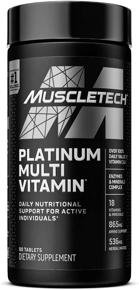 Multivitamin for Men | MuscleTech Platinum Multivitamin | Advanced Daily Formula | 18 Vitamins & Minerals + 865mg Amino Acids | Vitamins A C D E B6 B12 | Mens & Womens Multivitamins, 90 ct (Pack of 1)