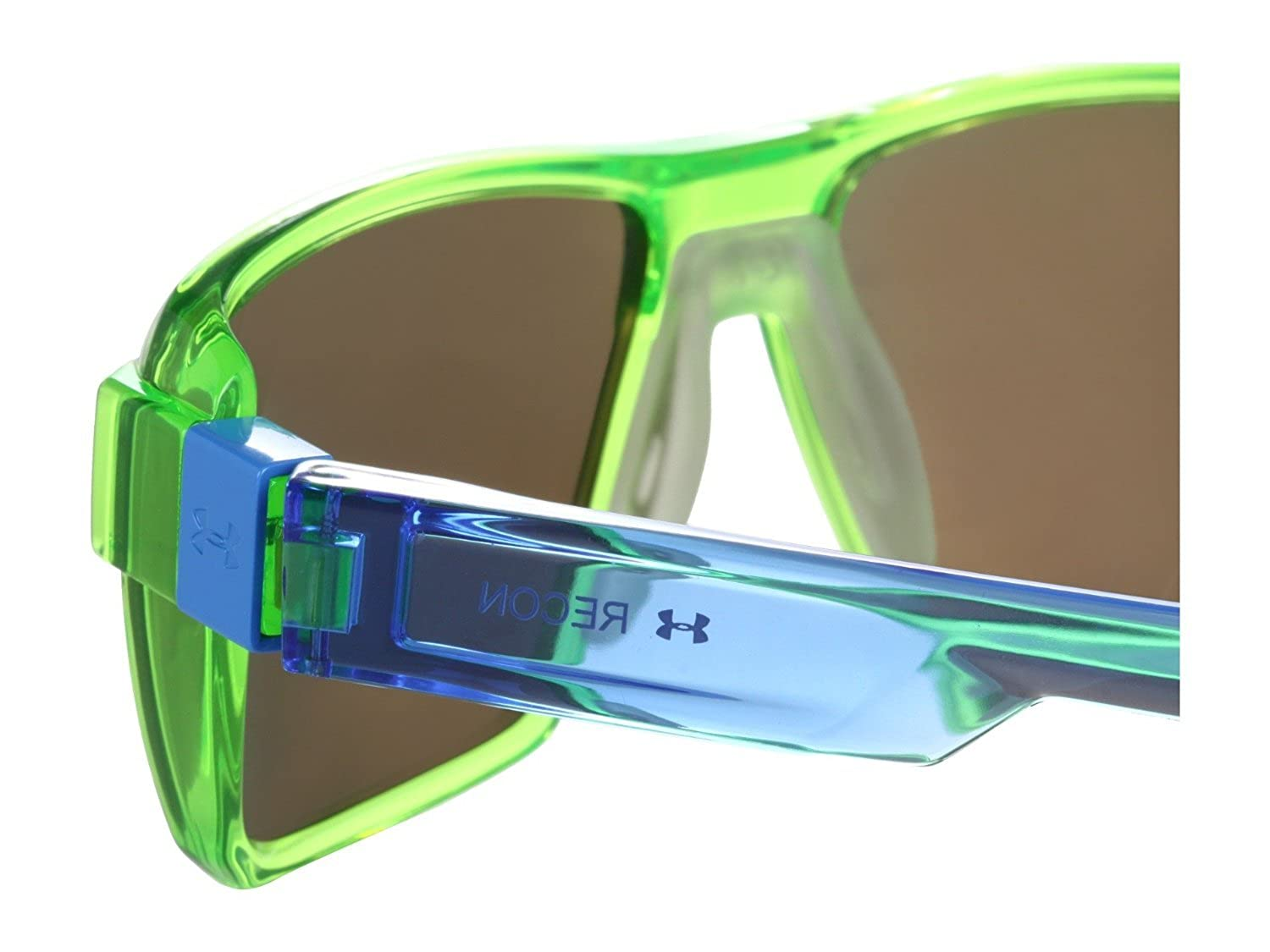2358380b19c Under Armour UA Recon Rectangle Sunglasses Crystal Lime Blue Frame Blue  Mirror Lens  Amazon.co.uk  Sports   Outdoors