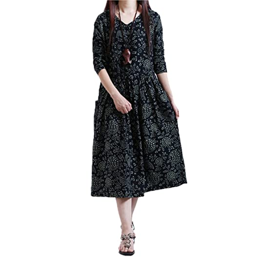 Paule Trevelyan Spring Autumn Women long dress Ladies Vintage LITERATURE loose Cotton Linen plus size NEW