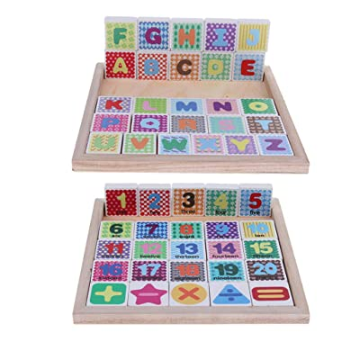 menolana Wooden Digital Numbers & Alphabet Jigsaw Puzzle Blocks Kids Education Toy, Size (L x W x H): Approx 22.7 x 22.7 x 1.5cm/8.94 x 8.94 x 0.59inch: Toys & Games